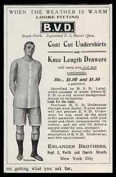 BVD Underwear Ad 1907 Mens Antique Fashion Ad