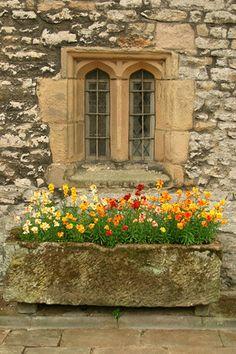 Window with Stone Flower Box  Hadon Hall, Derbyshire,UK