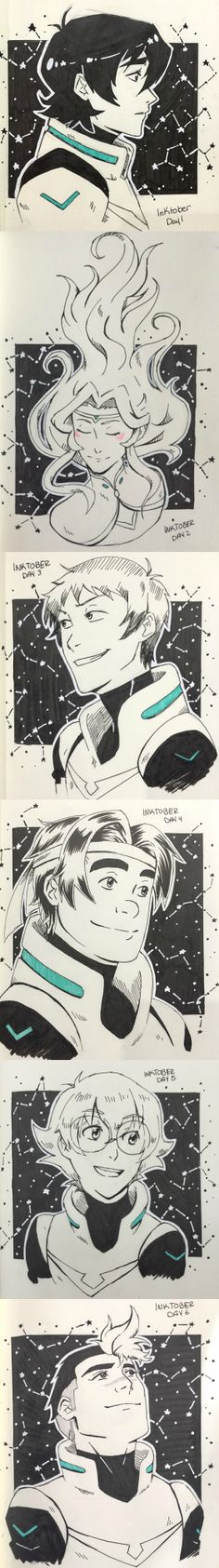 Inktober Voltron: Legendary Defender paladins, Shiro, lance, Keith, Hunk, Pidge, and Allura