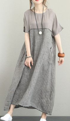 Fine gray silk linen maxi dress plus size O neck patchwork traveling dress sleeve pockets maxi dressesMost of our dresses are made of cotton linen fabric, soft and breathy. loose dresses to make you comfortable all the time. Dress Plus Size, Plus Size Maxi Dresses, Simple Dresses, Casual Dresses For Women, Short Sleeve Dresses, Clothes For Women, Summer Maxi Dresses, Prom Dress, Fashion Sewing