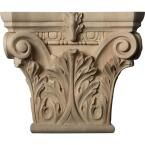 Ekena Millwork 11-1/2 in. x 3-3/4 in. x 9-5/8 in. Unfinished Wood Cherry (Red) Large Floral Roman Corinthian Corbel