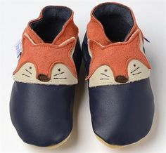 Fox - Rusty Fox on Navy soft soled leather baby bootie shoes Baby Booties, Baby Shoes, Baby Kids, Baby Boy, Fox Baby, Soft Leather, Leather Shoes, Gifts For Kids, Booty