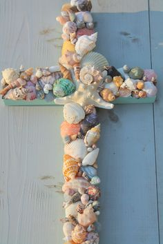 Reclaimed Wood Seashell Cross by MyHoneypickles