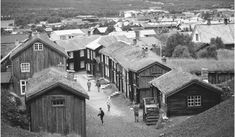 Sod roofs of old houses in Roros, a mining town founded in 1646.