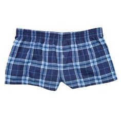 "Navy Light Blue Plaid Check Novelty Print Flannel Boxers Girls Mini Itty Bitty Shorts 1"" Inseam, Covered elastic waist, 100% cotton,, $15.99"