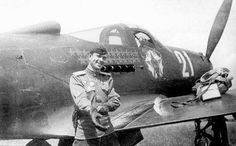 Fyodor Shikunov near his P39N-1 fighter.