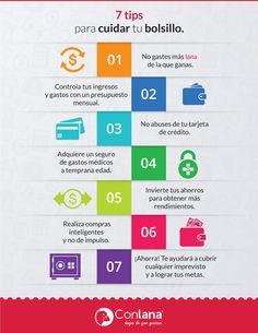 Cuida tu bolsillo. Tips para cuidar tus finanzas #Infografia #Conlana