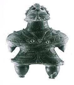 """Japanese ceramic figurine """"DOGU"""".   Goddess. wear shading glasses .  Miyagi Japan. BC.1,200 - BC.800."""
