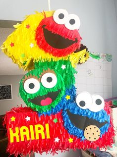 Birthday Pinata, Boys 1st Birthday Party Ideas, Baby Boy 1st Birthday, Dinosaur Birthday, Dinosaur Party, Sesame Street Toys, Sesame Street Party, Sesame Street Birthday, Drum
