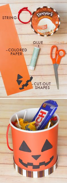 When the ice cream's gone, the fun's just getting started! Upcycle your empty carton with this cool, homemade trick-or-treat bucket. Help your kids glue paper onto the empty carton, cut out or draw on spooky or silly faces, and add a string handle for a fun craft that will have them trick-or-treating in style!
