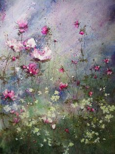 Dream-like floral painting, from French painter Laurence Amelie, sweet dreams to all who gaze upon her. Abstract Flowers, Watercolor Flowers, Watercolor Paintings, Flower Paintings, Watercolors, Laurence Amelie, Illustration Blume, Arte Floral, Beautiful Paintings
