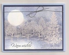 lovely_tree_emboss_resist_by_aileenr by aileenr - Cards and Paper Crafts at Splitcoaststampers Simple Birthday Cards, Homemade Birthday Cards, Homemade Cards, Christmas Cards To Make, Handmade Christmas, Holiday Cards, Scrapbooking, Scrapbook Cards, Leaf Cards