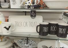 I love these Rae Dunn Halloween Mugs and Kitchen Decor at Homegoods, TJMaxx and Marshalls!