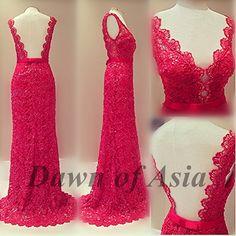 Red+prom+dress++lace+prom+dress+/+long+prom+dress+by+DawnofAsia,+$188.00