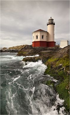Someone else's extremely gorgeous and unique shot of Coquille River Lighthouse from the river's edge. In Bandon, Oregon