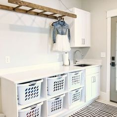 Tour this farmhouse laundry room fully equipped for my family of 6. Check out �laundry room� under highlights. Mudroom Laundry Room, Laundry Room Remodel, Farmhouse Laundry Room, Laundry Room Organization, Laundry Room Design, Organization Ideas, Storage Ideas, Ideas For Laundry Room, Laundry Room With Storage