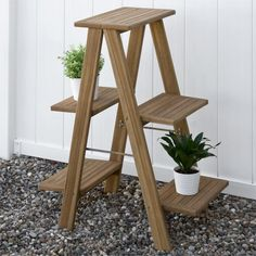 Dual Sided Teak Plant Stand