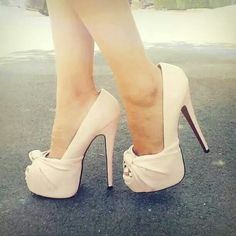 Ivory peep toe pumps