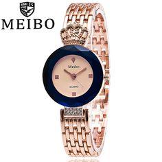 MEIBO Brand Women Sapphire Crown Rose Gold Watch Women Fashion Stainless Steel Quartz Watch Ladies Clock Relogio Feminino 1986