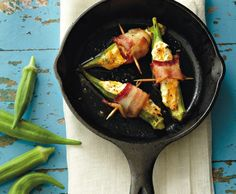 Cheese and Bacon Stuffed Okra