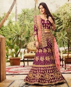 Buy Energetic Purple Colored Designer Partywear Embroidered Banglori Silk Lehenga Choli at Get latest Lehengas for women's at Peachmode. Pakistani Bridal Lehenga, Bridal Lehenga Online, Bridal Sari, Lehenga Choli Online, Indian Lehenga, Silk Lehenga, Indian Bridal, Bridal Dresses, Heavy Lehenga