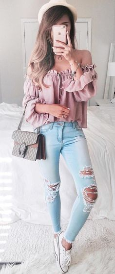 #summer #outfits Blush Off The Shoulder Blouse + Ripped Bleached Skinny Jeans + White Sneakers