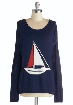 Sailing into Style Sweater - Better, Blue, Long Sleeve, Knit, Mid-length, Novelty Print, Nautical, Long Sleeve, Blue, Red, White, Casual, Sc...