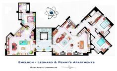 The Big Bang Theory architecture: Penny's and Sheldon's apartments