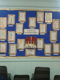 Our royal portrait gallery for turrets and tiaras topic. Children's self portraits and papier mache crown.