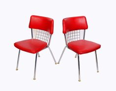 Chrome Dinette Chairs Set of 6 Red Seats Howell Modern Metal Furniture Retro Diner on Etsy, $495.00
