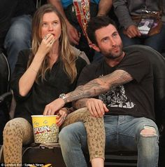 Making the most of date night: Pregnant Behati Prinsloo and Adam Levine were the picture o...