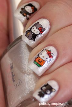 Halloween Nail Art: Hello Kitty Water Decals