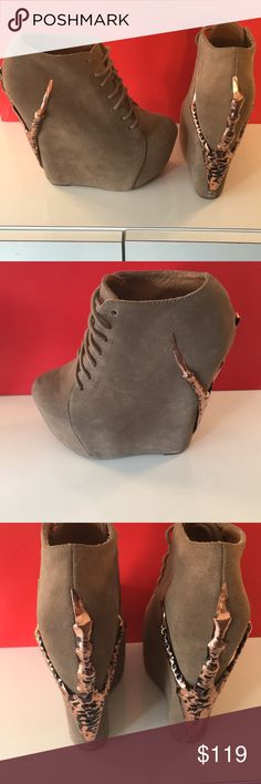 🆕JEFFREY CAMPBELL NWT  LIMITED BOOTS 💯AUTHENTIC ⭐️JEFFREY CAMPBELL LIMITED BOOTS 💯AUTHENTIC! STUNNING AND STYLISH ALWAYS ON TREND! GREAT HIGH END STYLE! THESE WERE MADE IN VERY LIMITED PRODUCTION. THEY ARE TAN SUEDE WITH A GOLD RAVENS TALON . THE SIZE IS 7.5. THE REAR LIFT IS 6 INCHES. THE FRONT LIFT IS ROUGHLY 2 INCHES. STILL HAVE ORIGINAL TAG ON BOTTOM. A FEW SCUFFS ON BOTTOM FROM BEING TRIED ON IN STORE. THEY HAVE NEVER BEEN WORN OUTSIDE. COUPLE TINY SUEDE SMUDGES FROM BEING IN CLOSET…