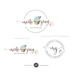 Cupcake logo design Bakery Branding Kit Logo Set by GDLogoDesign