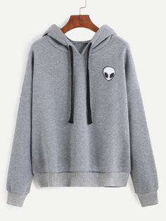 Sweat-shirt imprimé alien avec capuche - gris -French SheIn(Sheinside)