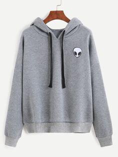 Sudadera con capucha y estampado de ET - gris-Spanish SheIn(Sheinside)                                                                                                                                                                                 Más