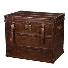Vintage Steamer Side Table with 2 Drawers Cigar Leather Trunk End