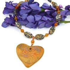 Horse Heart Petroglyph Handmade Necklace Jasper Carnelian Copper OOAK | ShadowDogDesigns - Jewelry on ArtFire