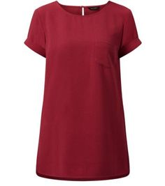 Red Crepe Longline T-Shirt