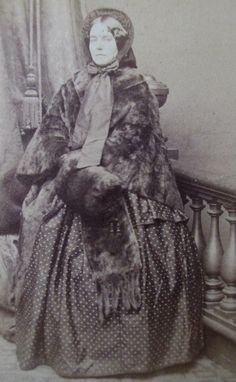 CDV Photo Victorian Lady Civil War Era Woman Bonnet Fur Cape Muff Hoop Dress | eBay