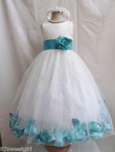 Ivory Jade Teal Green Wedding Party Flower Girl Dress s M L XL 2 4 6 8 10 121 4 | eBay
