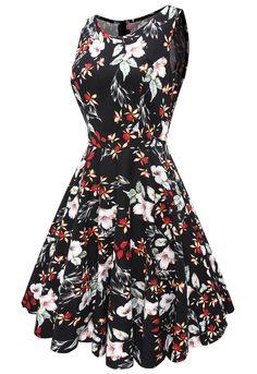 Anni Coco® Women's Classy Audrey Hepburn 1950s Vintage Rockabilly Swing Dress at Amazon Women's Clothing store: