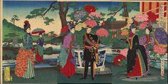 """""""Peony Flower Viewing"""" by Chikanobu, Yoshu (1838-1912) Toyohara"""