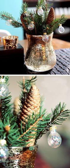 Organic Tablescape | Click for 30 DIY Christmas Table Centerpiece Ideas | DIY Christmas Table Decoration Ideas