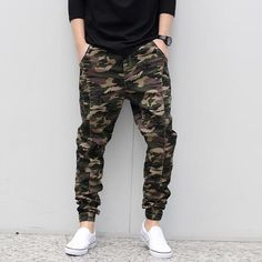 Spring Autumn Male Camouflage Jogger Pants Men Fashion Elastic Waist Casual Skinny Pants Man Harem Pants Plus Size Trousers Skinny Joggers, Mens Joggers, Cool Outfits, Casual Outfits, Fashion Outfits, Casual Pants, Trendy Mens Haircuts, Look Man, Fashion Joggers