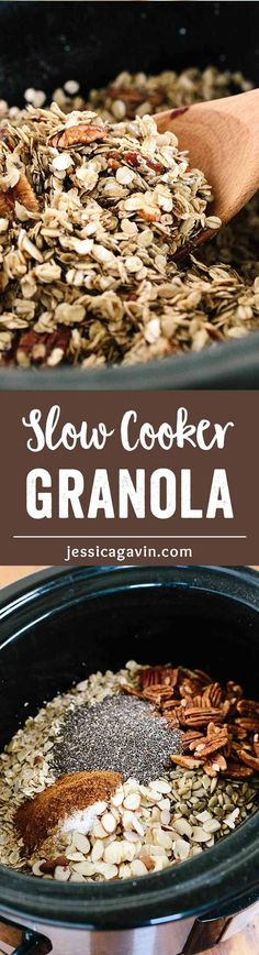 Spiced Slow Cooker Granola with Fruit and Nuts - The easiest one pot recipe! Let the machine do all the work to create this wholesome tasty breakfast or snack.