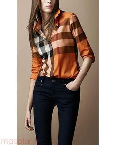 90f75da05d0e Réduction Burberry Chemise Femme Orange Chemises à carreaux Trendy Burberry  Shirt Women, Burberry Plaid,