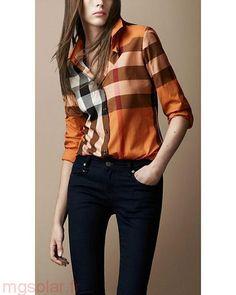 Réduction Burberry Chemise Femme Orange Chemises à carreaux Trendy Burberry  Shirt Women, Burberry Plaid, 8201d34e418