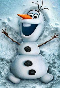 Olaf making a snow angel
