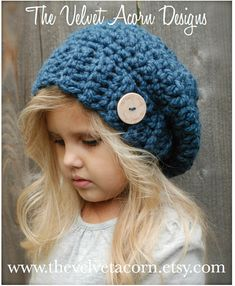 The Velvet Acorn - Heidi May -The Nevaeh Slouchy Bonnet Crochet, Crochet Beanie, Knitted Hats, Crochet Winter Hats, Crochet For Kids, Crochet Baby, Knit Crochet, Crochet Toddler, Loom Knitting